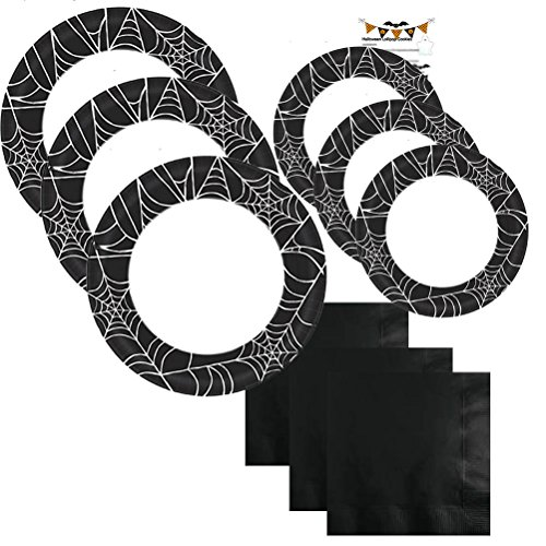 Paper Plates Halloween Party Supplies Set Kit Premium Sturdy Disposable Dinnerware Black Spider Web Napkins Plates Recipe Serves 40 (181 Pieces) (Halloween Paper Plate Spider Crafts)