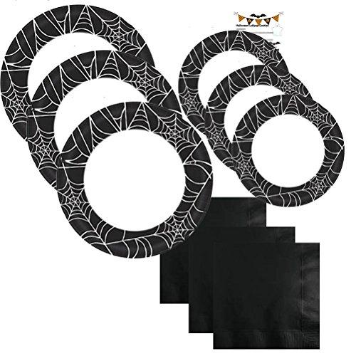 Paper Plates Halloween Party Supplies Set Kit Premium Sturdy Disposable Dinnerware Black Spider Web Napkins Plates Recipe Serves 40 (181 Pieces)