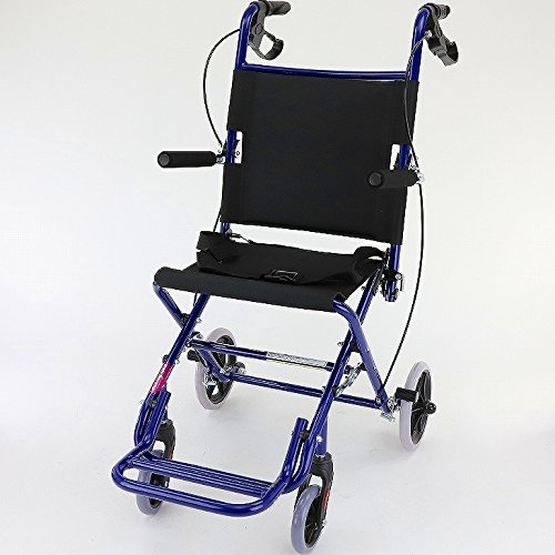ワイドタイプの簡易車椅子 『 快飛ee!(カットビー)』 インパルスブルー 重量約7.2kg 超軽量 コンパクト 介助用車いす 旅行やお買い物やレジャーでのご使用にも!E101-AB B00RDUBV4E