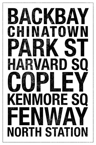Laminated Subway Boston White Sign Poster 12x18 inch