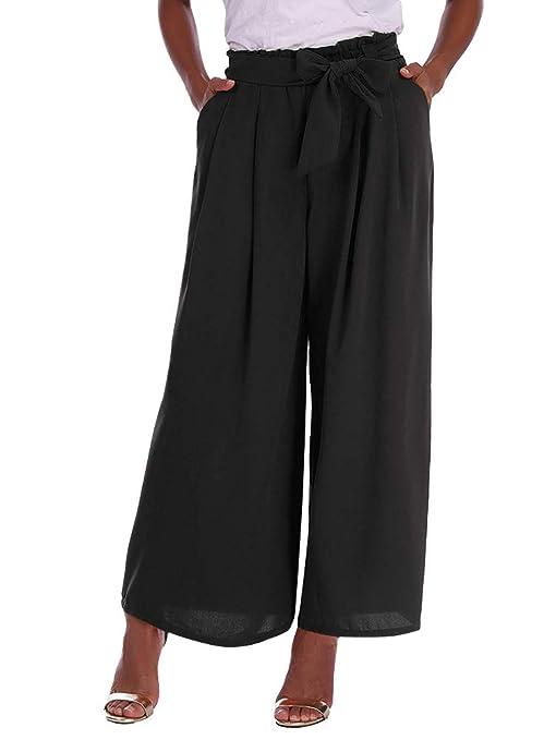 Minetom Mujeres Oficina Pantalones Casual Moda Verano Otoño Gasa Color Sólido Harem Playa Pantalones De Pierna Ancha Pants Cintura Alta: Amazon.es: Ropa y ...