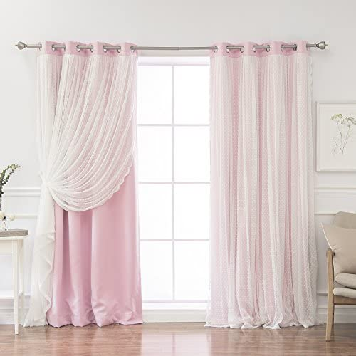 Home Fashion Closeout Dotted Lace Overlay Thermal Insulated Blackout Curtains