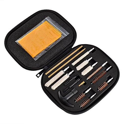 Pistol Gun Cleaning Kit with Metal Brushes, Patches and Swabs, Anti-Rust Silicone Cloth in Zippered Organizer Compact Case (17 Pieces) by BOOSTEADY Universal Rods Caliber 22 357 38 40 44 45 9mm