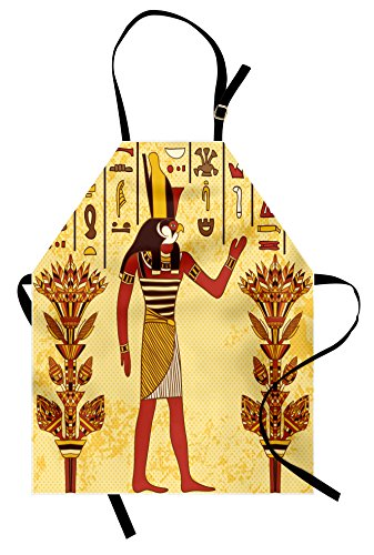 Ambesonne Retro Apron, Ancient Egyptian Hieroglyph Design with Pharaoh Papyrus Art Graphic Design, Unisex Kitchen Bib Apron with Adjustable Neck for Cooking Baking Gardening, Pale Yellow Red Marigold]()