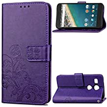 Nexus 5X Case, SATURCASE Lucky Clover PU Leather Flip Magnet Wallet Stand Card Slots Case Cover for Google LG Nexus 5X / LG Angler Purple