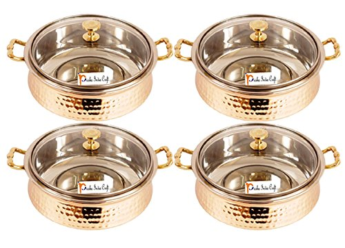 Set of 4 Prisha India Craft ® High Quality Handmade Steel Copper Casserole with Lid - Copper Serving Handi Bowl - Copper Serveware Dishes Bowl Dia - 5.00 X Height - 2.25 - Christmas Gift