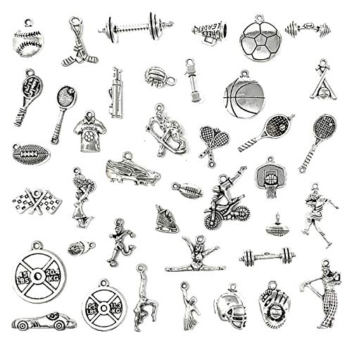 JIALEEY 40 PCS Sports Equipment Charms Mixed Cheerleader Girl Dance School Sports Spirit Gymnastics Pendants DIY for Jewelry Making and Crafting (Cheerleader Charm Necklace)