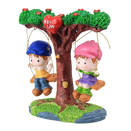 Wedding Gift Home Decoration Couple Sitting on 2 Swings Resin Ornaments