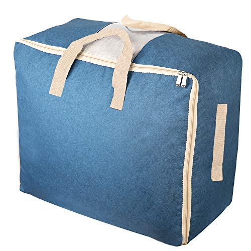 Qozary Large Storage Bags for Comforters, Blankets, Clothes, Quilts and Towels, Better and Sturdy Organizer Bag, Under Bed Storage, Great for Closets, Bedrooms, (Blue) ()