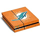NFL Miami Dolphins PS4 Horizontal (Console Only) Skin - Miami Dolphins Distressed- Orange Vinyl Decal Skin For Your PS4 Horizontal (Console Only)