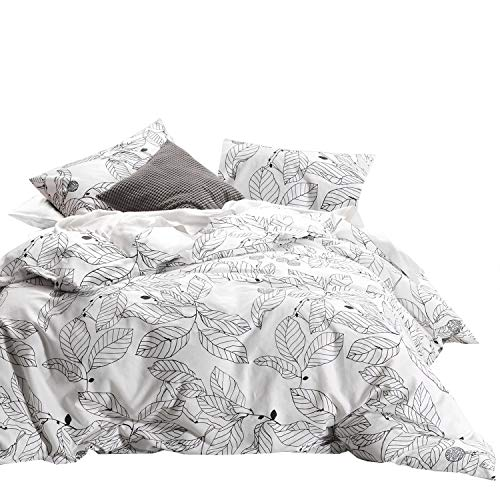 Wake In Cloud - Tree Comforter Set, 100% Cotton Fabric with Soft Microfiber Fill Bedding, Black Branches Leaves Pattern Printed on White (3pcs, King Size) (King Size Black And White Bedding Set)