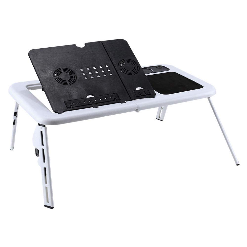Gplveoq USB Stand Laptop Desk,Cooling Fans Computer Desk,Foldable Table,E-Table Bed TV Tray Portable Folding Table,Computer Notebook