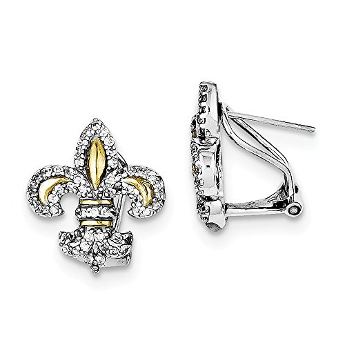 Sterling Silver Rhodium Plated Vermeil Fleur de Lis Synthetic CZ Omega Back Post Earrings (0.7IN x 0.6IN )