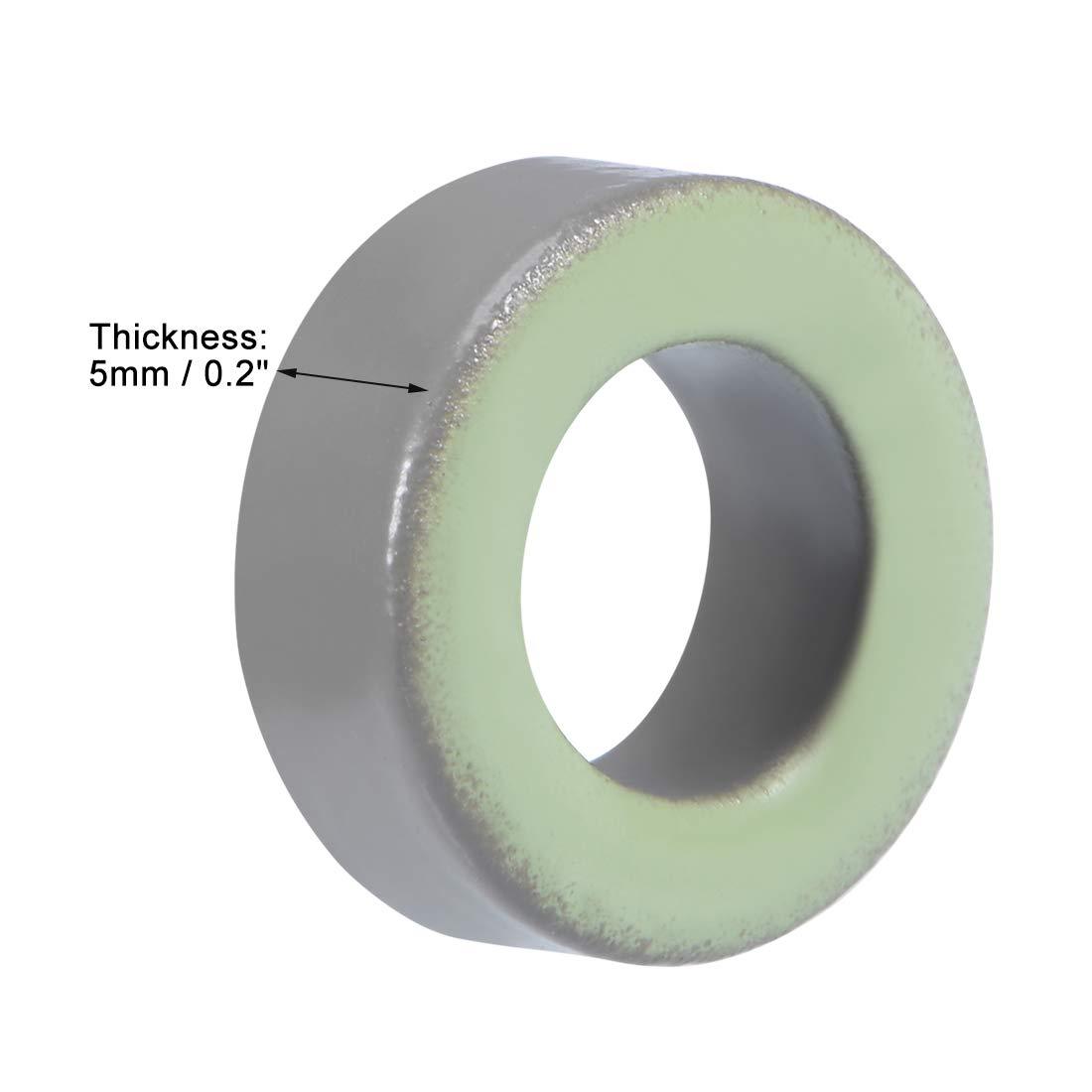uxcell 5pcs 7.4 x 13.3 x 5mm Ferrite Ring Iron Powder Toroid Cores Gray Light Green