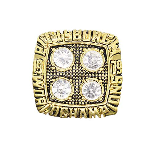 Gloral HIF Pittsburgh Steelers Championship Ring Football Super Bowl Championship Ring Gold with Box ()