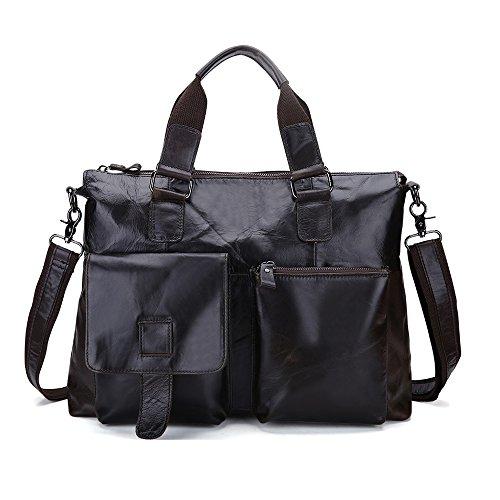 [case] joyir Men Genuine Soft Leather Handbag Shoulder Bag Portable Shoulder Bag (deep Coffee, Large Capacity)
