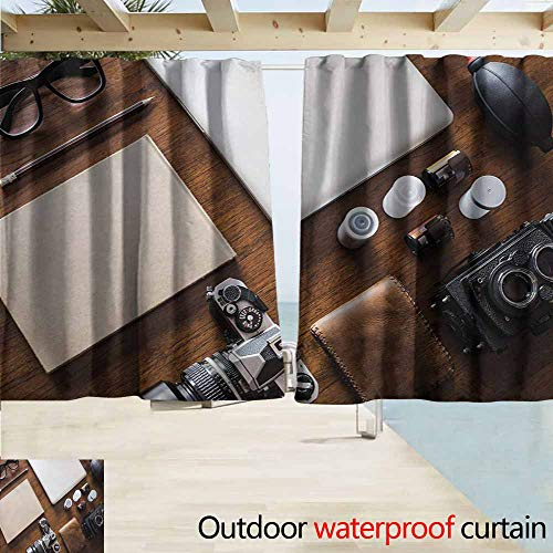Wlkecgi Indie Pergola Curtain Professional Set Up for Photographers Designers Work Place Equipment on Table Great for Living Rooms & Bedrooms W55 xL45 Brown Beige Black