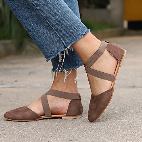 Goma Gamuza Cruzada Sandalias Apuntado o Primavera Ocio Oto Planos Colores Mujer Verano Correa Moda 35 Sandalias Sandalias Zapatos 3 Suela de 43 Cerradas Sandalias Beige Odvqn5wF