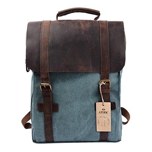 S-ZONE Fashion Segeltuch Leder Canvas Vintage-Stil Unisex Junge Reisetasche Wandertasche 15 inch Laptop Rucksack für Studenten Freizeit (Grün)