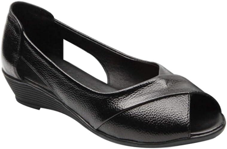 Daytwork Women Pumps Uniform Dress Shoes Sandals - Ladies Pumps Wedge Heel  Peep Toe Comfy Soft Leather Oxfords Work Casual Lightweight Moccasin:  Amazon.co.uk: Shoes & Bags