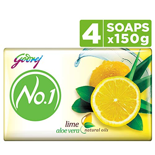 Godrej No.1 Bathing Soap – Lime & Aloe Vera, 150g (Pack of 4)