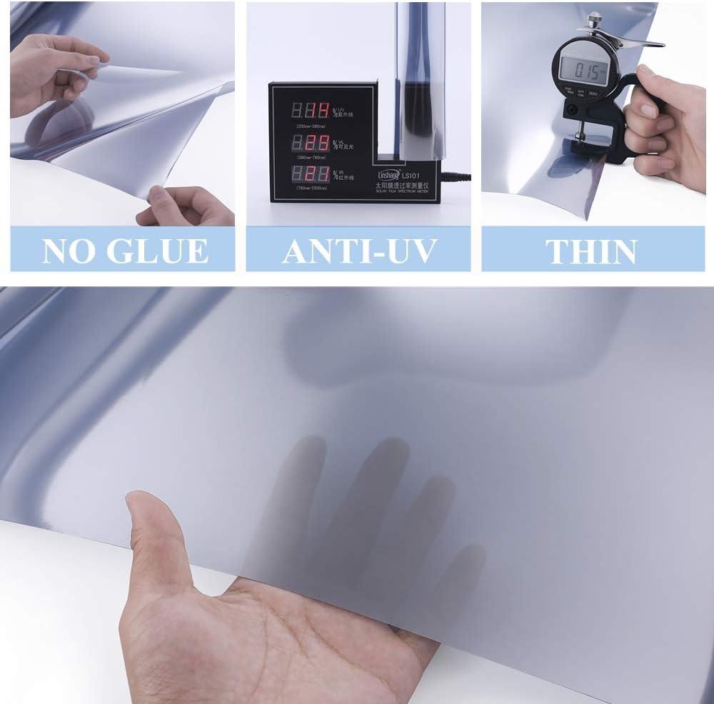 Argent, 45 x 200cm VELIMAX Film Miroir sans Tain pour Vitrage Film Solaire Electrostatique Film De Fen/être Statique Anti-Chaleur Anti-UV Contr/ôle de la Chaleur
