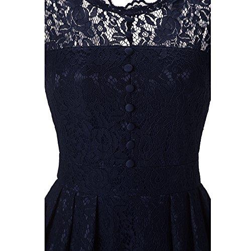 ... YaoDgFa Damen Kleider Spitze Abendkleid Festlich Kurzarm Knielang  Cocktailkleid Partykleid Rockabilly Retro 1950er Sommer Blau E3QwQnzSJS ... 0a64614436