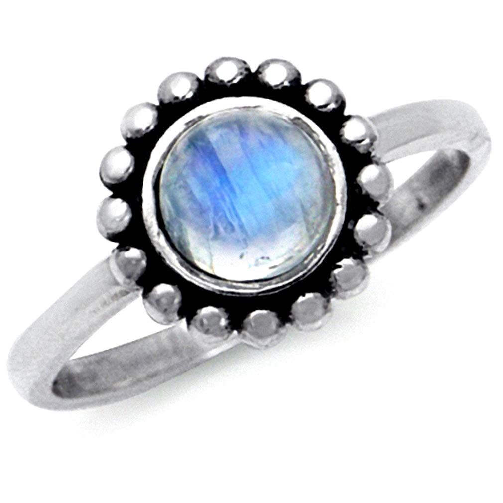 Silvershake 6mm Natural Round Shape Moonstone 925 Sterling Silver Balinese Style Ring
