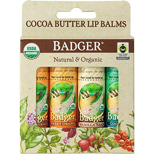 Pomegranate Lip Butter - Badger - Cocoa Butter Lip Balm - Cool Mint, Sweet Orange, Vanilla Bean, Poetic Pomegranate - 4 Pack