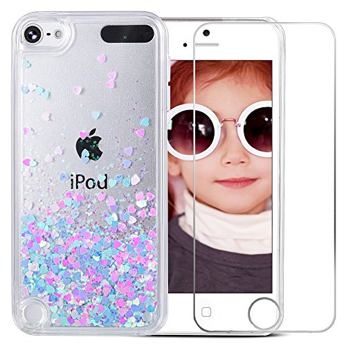 iPod Touch 6 Case, iPod Touch 5 Case, VEGO Bling Glitter Liquid Luxury Sparkle Love Heart Design Case with Floating Shining Quicksand for Apple iPod Touch 5 6th Generation (Clear Plastic Ipod Case)
