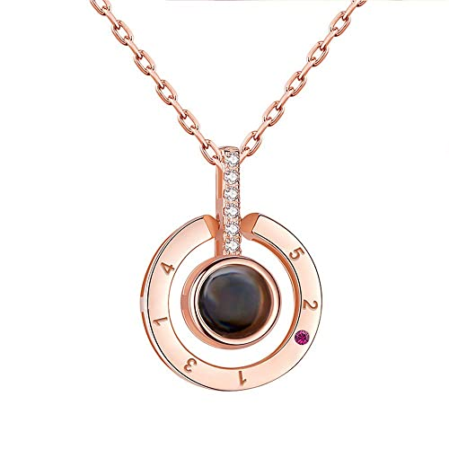 42d8eae442 Inf-way I Love You Necklace, 100 Languages Projection on Round Onyx Pendant  Loving