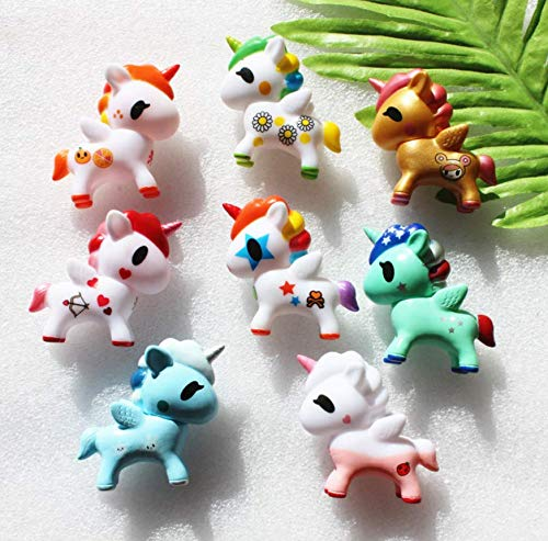 Astra Gourmet 8pcs Unicorn Cupcake Cake Topper Figures, Kids Girl Toy Dolls Birthday Party Baby Shower Cake Decoration Figures ()