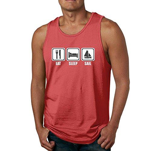 ZhiqianDF Men's Eat Sleep Sailing Athletic Running Red Sleeveless Shirt S Tank Tops