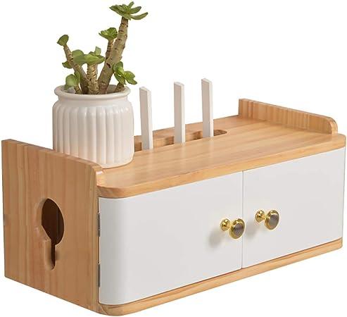 Caja de almacenamiento de enrutador de madera maciza montada en la pared Caja de almacenamiento de alambre, estilo europeo Decoración de pared moderna simple del escudo eléctrico, diseño de puerta a: Amazon.es: