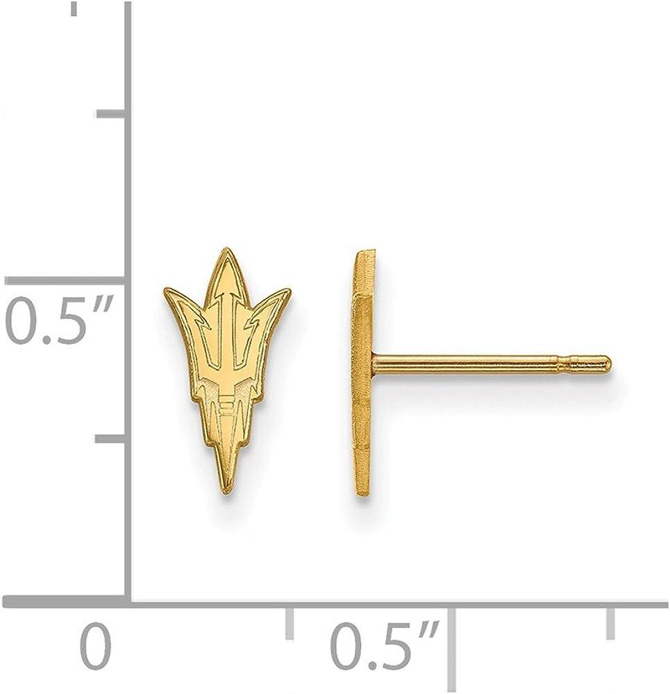 925 Sterling Silver w//GP LogoArt Arizona State University XS Post Earrings