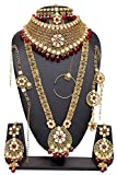 Indian Style Gold Plated Kundan Stone Indian Necklace Earrings Bridal Set Partywear Jewelry