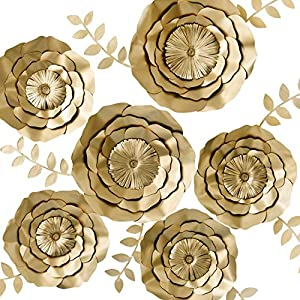KEY SPRING 3D Paper Flower Decorations, Giant Paper Flowers, Large Handcrafted Paper Flowers (Gold, Set of 6) for Wedding Backdrop, Bridal Shower, Wedding Centerpieces, Nursery Wall Decor 20