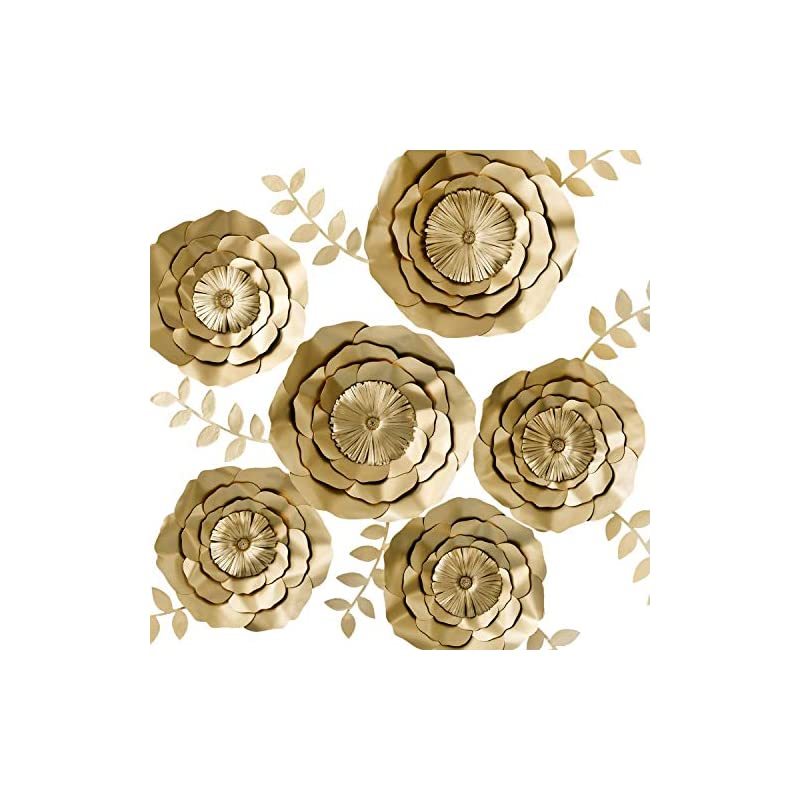 silk flower arrangements key spring 3d paper flower decorations, giant paper flowers, large handcrafted paper flowers (gold, set of 6) for wedding backdrop, bridal shower, wedding centerpieces, nursery wall decor