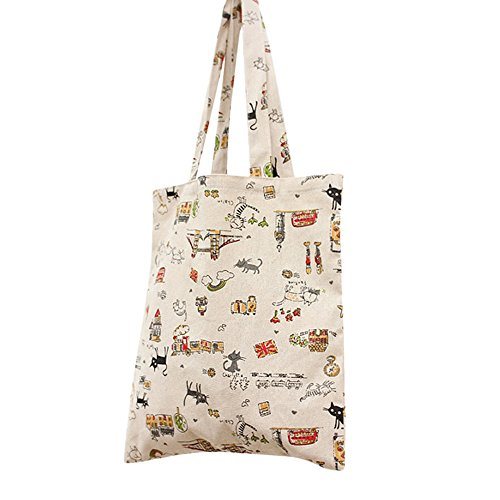 Cat Tote Bag (Flowertree Women's Cute Animal Print Canvas Tote Bag (L024-Cat/Open))