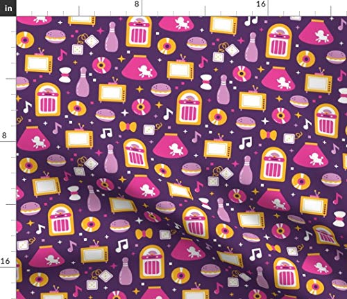 1950's diner music and burgers purple and yellow Fabric - 1950 1950 Retro Scandinavian Flat Ornate Party Sock Hop Dance by Yuliia Studzinska Printed on Petal Signature Cotton Fabric by -
