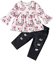 Suolongsama Toddler Baby Girl Easter Outfits Bunny Floral Tunic Top Dress Ripped Denim Jeans Pants Set Summer