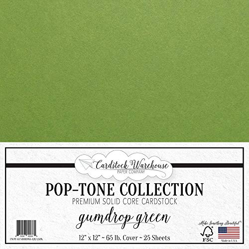Gumdrop Green Cardstock Paper - 12 x 12 inch 65 lb. Premium Cover - 25 Sheets from Cardstock Warehouse ()