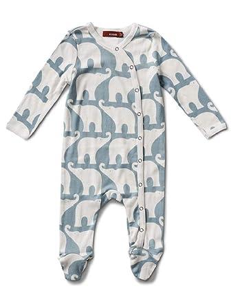3ff092e5a21c Amazon.com  MilkBarn Organic Cotton Footed Romper Blue Elephant 9-12 ...