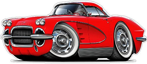 1962 Corvette WALL DECAL 2ft long Vette Chevrolet Vinyl Decals Stickers for Boys Cars Old 50s Mens Bedroom Garage Man Cave Home Decor