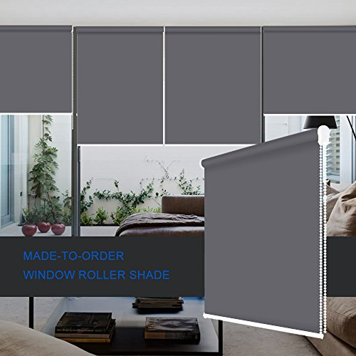 ZY Blinds Sun Shading Roller Shades Custom Made Any Size from 20-78inch Wide UV Protection Enery Saving Window Shades Blinds for Home, Hotel, Club, Restaurant 71″ W x 36″ L, Dark Grey