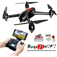 MJX Bugs 2W B2W GPS RC Quadcopter Drone with Altitude Hold, Brushless Motor Headless Mode 2.4G 6-Axis Gyro RC Helicopter With 1080P HD Camera WIFI FPV Drone - Black