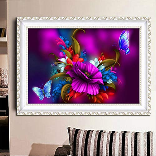 Baulody DIY 5D Diamond Painting by Number Kit, Full Drill Daffodil Flowers Rhinestone Embroidery Cross Stitch Ornaments Arts Craft Canvas Wall Decor (E) by Baulody (Image #2)