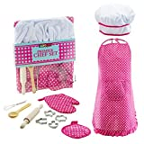 Complete Kids Cooking and Baking set - 11 Pcs Includes Apron for Little Girls, Chef Hat, Mitt & Utensil for Toddler Dress Up Chef Costume Career Role Play - Perfect Gifts for 3 Year Old Girls and Up