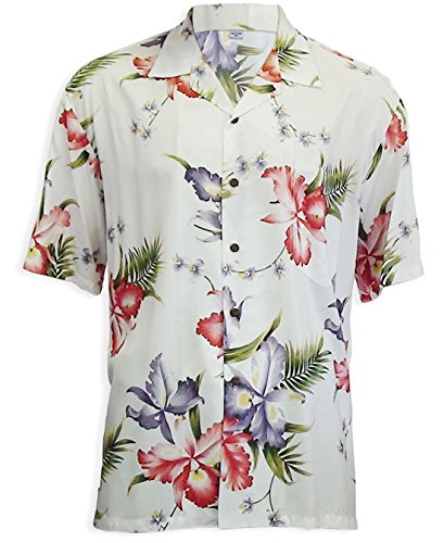 Two Palms Mens Aloha Orchid Rayon Shirt White 4X by Two Palms