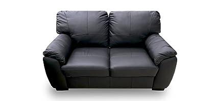 Florence Leather Sofa 2 Seater Black Amazon Co Uk Kitchen